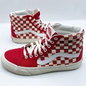 VANS Sk8-Hi Checkerboard Red White Men's Size 7
